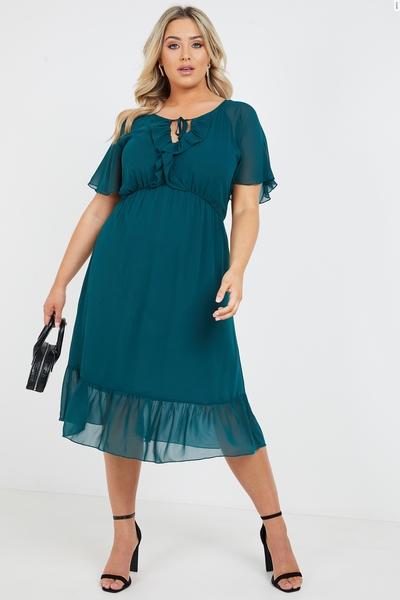 Curve Bottle Green Chiffon Frill Midi Dress